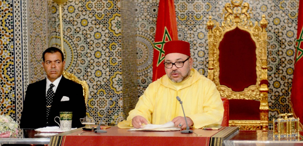 "A handout picture released on July 30, 2016 by the Moroccan Royal Palace shows Moroccan King Mohammed VI giving a speech, next to his brother Prince Moulay Rachid (L), in Tetouan, in northern Morocco, at the occasion of the 17th anniversary of his accession to the throne. Morocco's King Mohammed VI said the country's decision to rejoin the African Union's (AU) does not mean that the Kingdom will renounce its rights regarding the Western Sahara. Morocco quit the AU in protest in 1984 after the Sahrawi Arab Democratic Republic (SADR) was accepted as a member.   / AFP PHOTO / Moroccan Royal Palace / HO / === RESTRICTED TO EDITORIAL USE - MANDATORY CREDIT ""AFP PHOTO / HO /MOROCCAN ROYAL PALACE"" - NO MARKETING NO ADVERTISING CAMPAIGNS - DISTRIBUTED AS A SERVICE TO CLIENTS =="