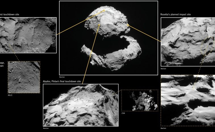 """This handout picture released on September 23, 2016 by the European Space Agency (ESA) shows a computer generated tableau of Rosetta's planned impact point in Ma'at shown in context with Philae's first and final touchdown sites; all three sites are on the smaller of Comet 67P/Churyumov–Gerasimenko's two lobes. Europe's Rosetta spacecraft was headed for a mission-ending crash on September 30, 2016 on the comet it has stalked for two years, a dramatic conclusion to a 12-year odyssey to demystify our Solar System's origins. / AFP PHOTO / ESA / HO / RESTRICTED TO EDITORIAL USE - MANDATORY CREDIT """"AFP PHOTO /CIVA: ESA/Rosetta/Philae/CIVA; NAVCAM: ESA/Rosetta/NAVCAM – CC BY-SA IGO 3.0; OSIRIS: ESA/Rosetta/MPS for OSIRIS Team MPS/UPD/LAM/IAA/SSO/INTA/UPM/DASP/IDA; ROLIS: ESA/Rosetta/Philae/ROLIS/DLR"""" - NO MARKETING NO ADVERTISING CAMPAIGNS - DISTRIBUTED AS A SERVICE TO CLIENTS   /"""